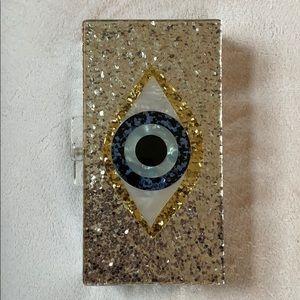 Evil Eye Silver Clutch w/ Removable Strap